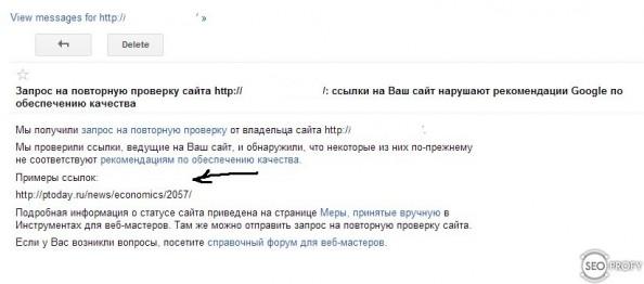 Ответ Google на пересмотр - SeoProfy