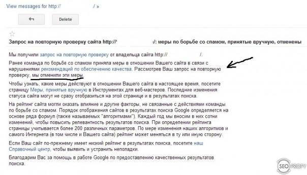 снятие санкций от Google - SeoProfy