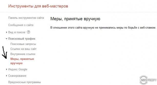 санкции Google сняты и отсутствуют - SeoProfy