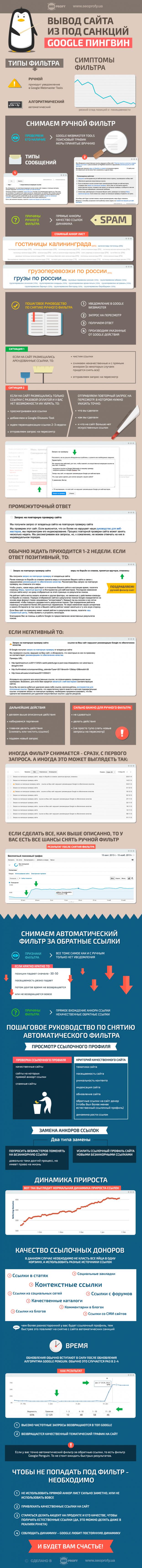 Инфографика: Вывод сайта из-под санкций Google Penguin