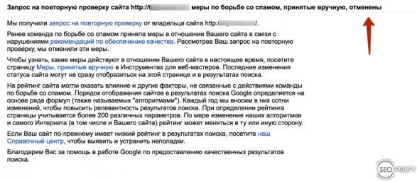 ручные санкции от Google сняты