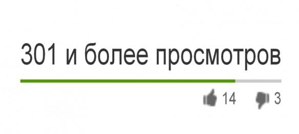 301 и более просмотров на YouTube