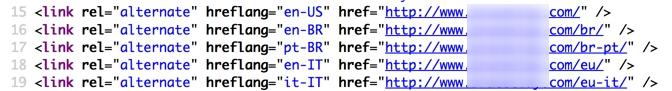 Прописать в коде href lang