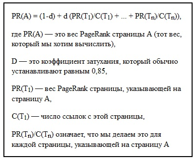 pagerank формула