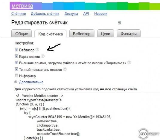 код счетчика Яндекс метрика