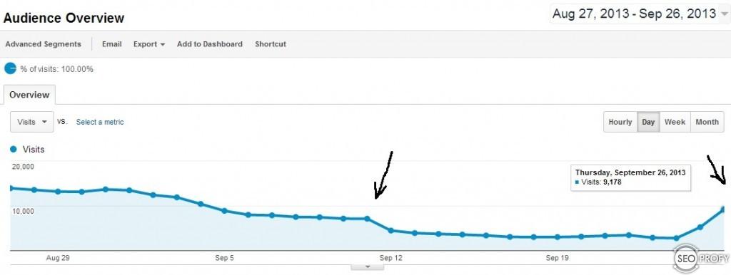 Рост посещаемости после фильтра Google