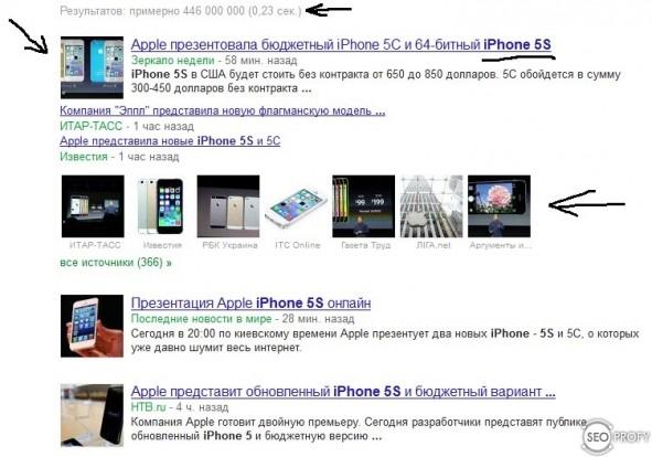 Google новости -  iphone 5s