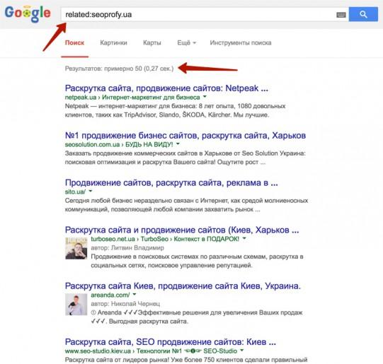 оператор «related» в Google