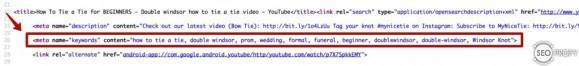 Исходный код для страницы на YouTube - ключевые слова / description