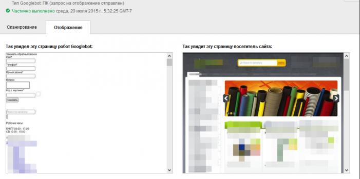 - отображение того как сейчас видит поисковый робот Google и как эту же страницу увидят пользователи сайта
