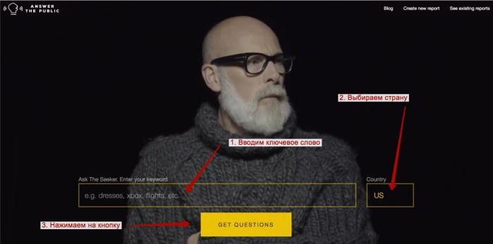 Answerthepublic - вводим ключевое слово