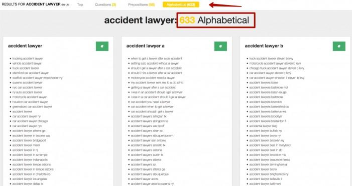 А так же, в алфавитном порядке, сервис показывает все основные запросы