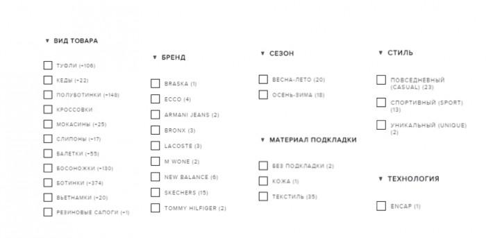 Построение системы фильтров на сайте