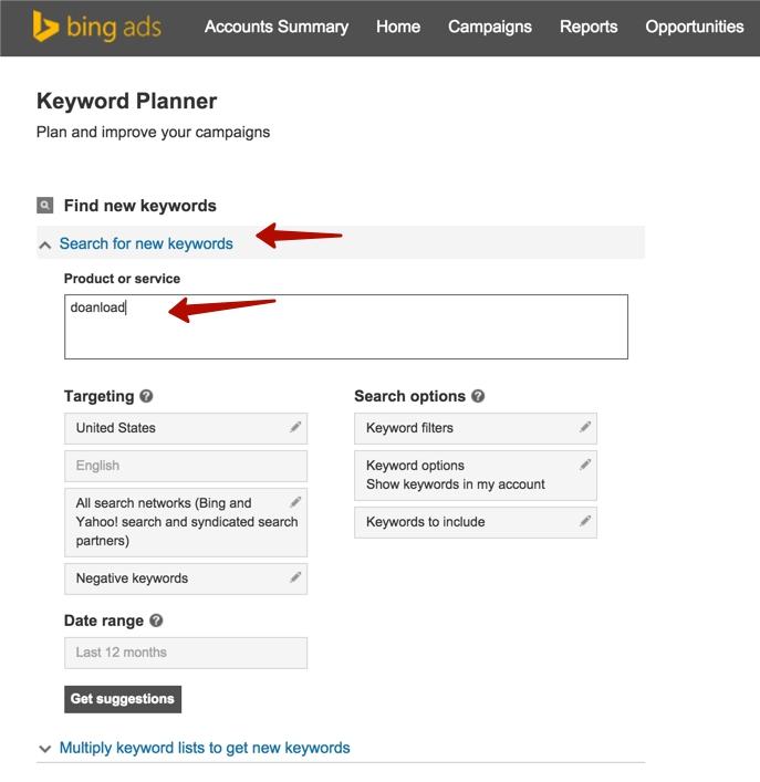 Вводим ключевик в Bing Keyword Planner
