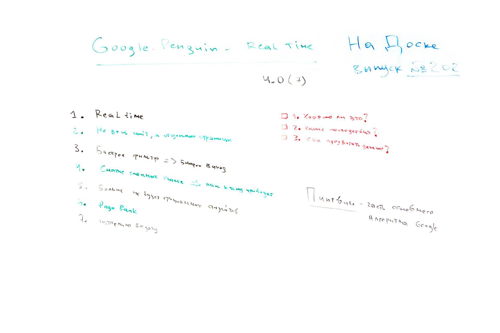 Фото с доски: Google Пингвин - обновление, real time и что это значит для SEO - На Доске - выпуск № 202
