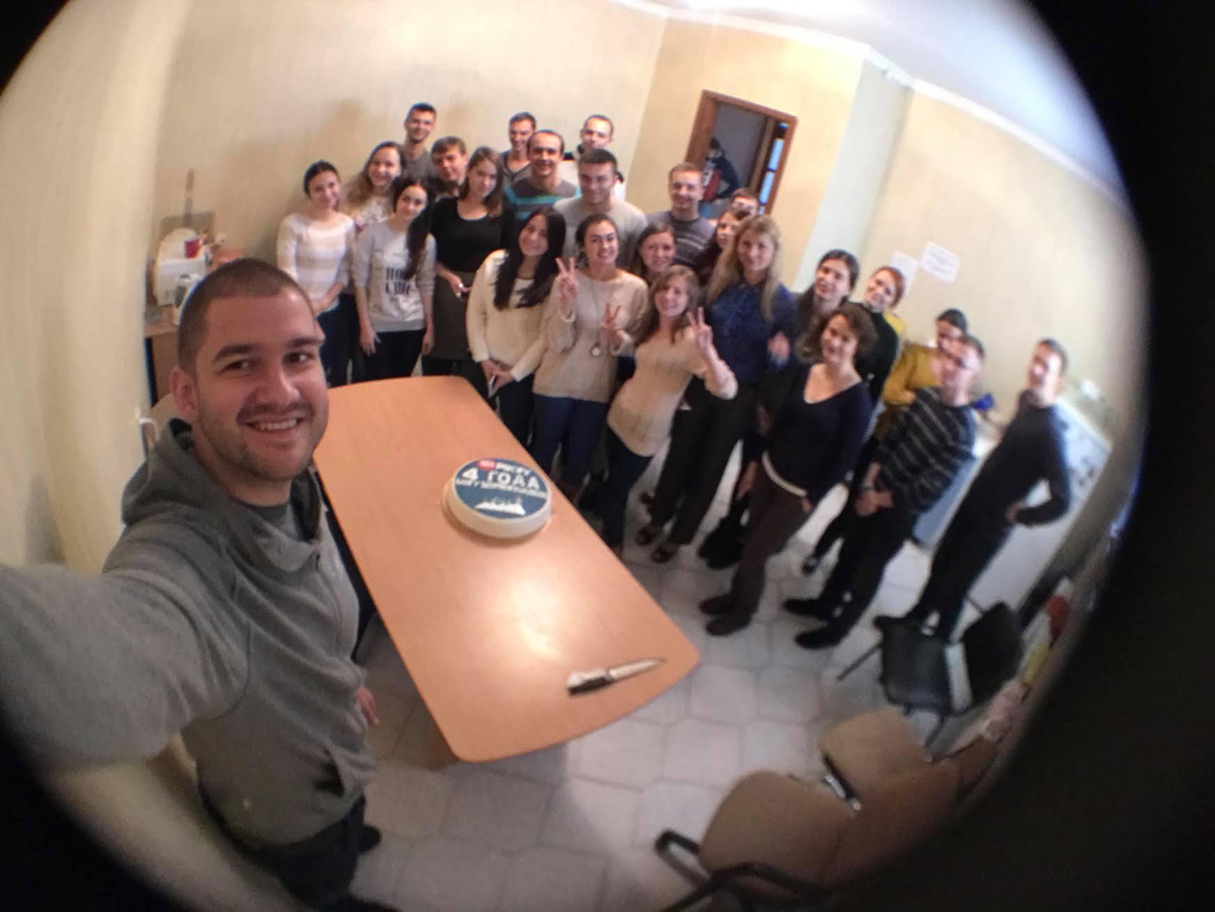 Сегодня в офисе в честь 4 года ДР блогу, был торт 4 кг