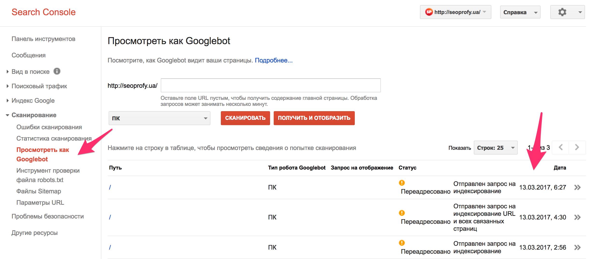 просмотрен как Google Bot