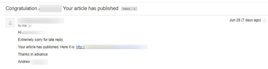все было не зря и нашу статью опубликовали с чем нас радостно поздравил вебмастер