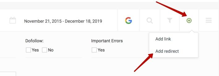 Когда добавляем ссылку, просто выбираем редирект