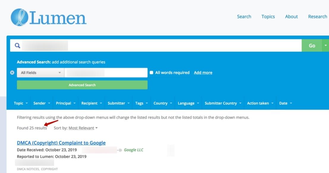 Вот так выглядит поданная абуза за копирование контента в Google